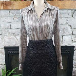 Vintage Rodier Paris button down gathered blouse